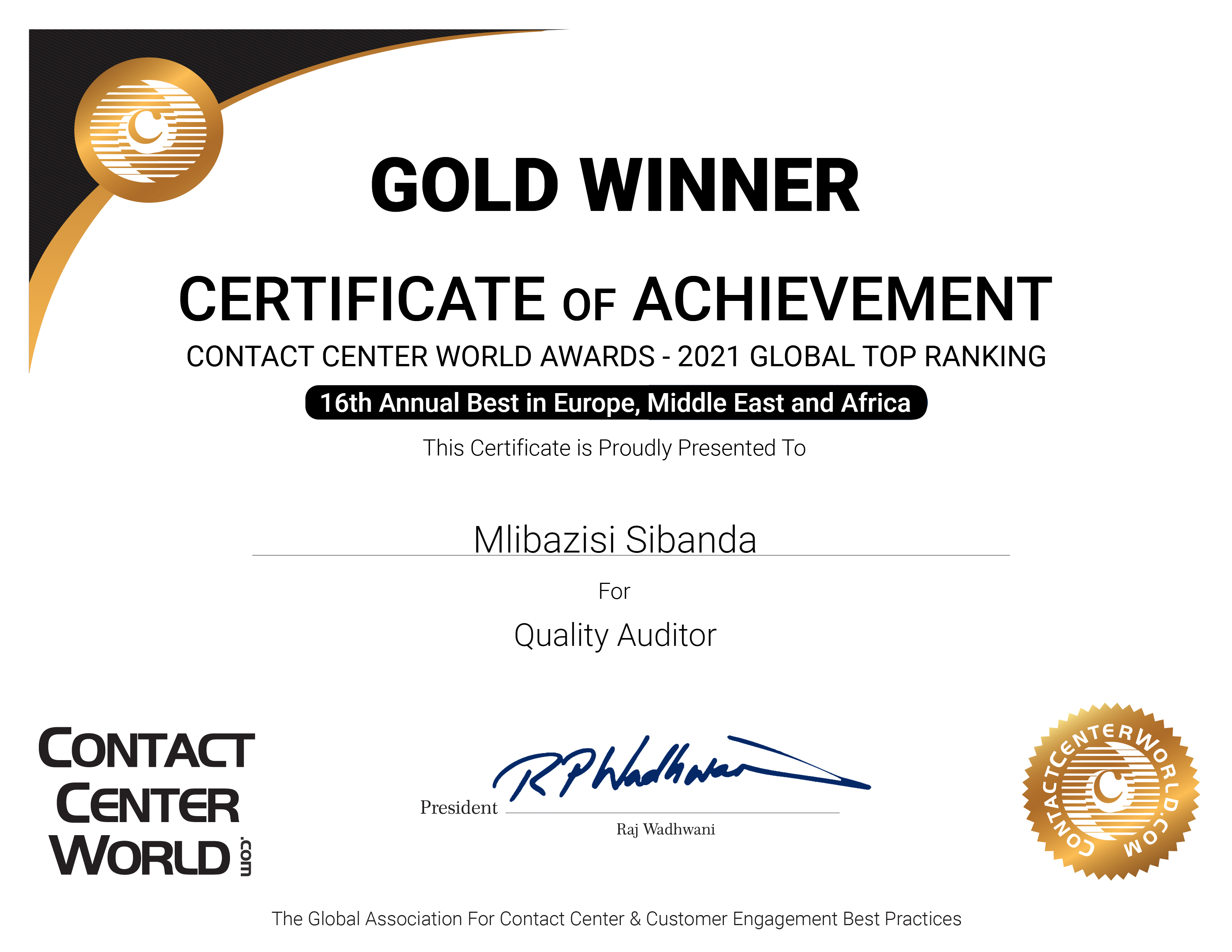 Best Quality Auditor 2021 Certificate